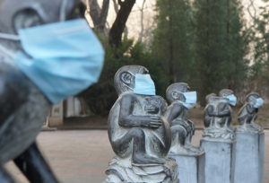 This photo taken on December 19, 2016 shows face masks on stone monkey statues in protest of the current heavy air pollution at Beijing Zoo in Beijing. Heavy smog suffocated northeast China for a fifth day on December 20, with hundreds of flights cancelled and road and rail transport grinding to a halt under the low visibility conditions. / AFP PHOTO / STR / China OUT